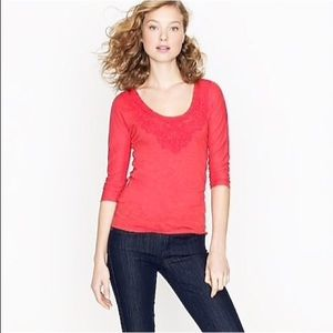 J. Crew Factory Lace Necklace Tee